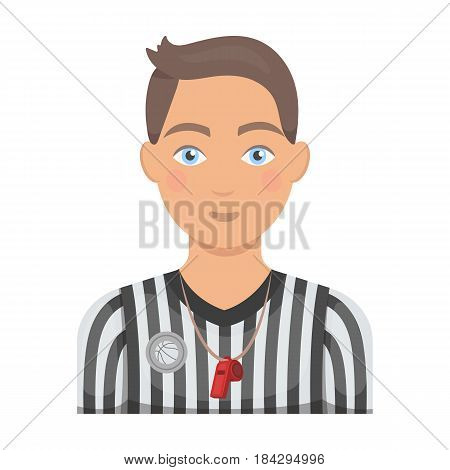 Basketball referee.Basketball single icon in cartoon style vector symbol stock illustration .