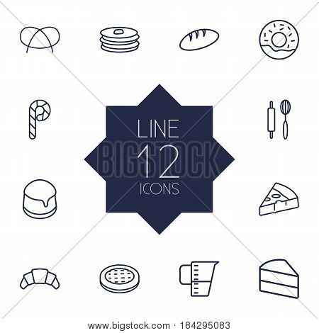 Set Of 12 Bakery Outline Icons Set.Collection Of Rolling Pin, Bread, Pudding And Other Elements.