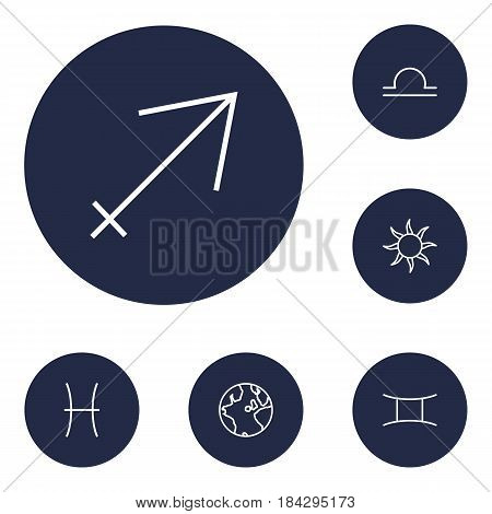 Set Of 6 Galaxy Outline Icons Set.Collection Of Sun, Pisces, Sagittarius And Other Elements.