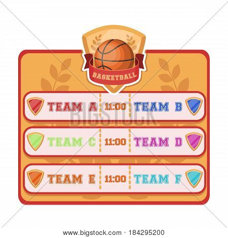 Placard on the basketball court.Basketball single icon in cartoon style vector symbol stock illustration .