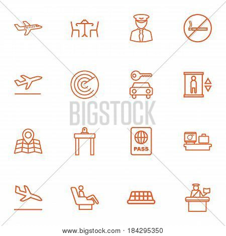 Set Of 16 Airplane Outline Icons Set.Collection Of Sit, Map, Taxi And Other Elements.