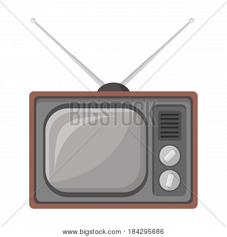 Old TV.Old age single icon in cartoon style vector symbol stock illustration .