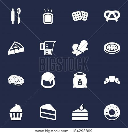 Set Of 16 Oven Icons Set.Collection Of Dessert, Snack, Measurement And Other Elements.
