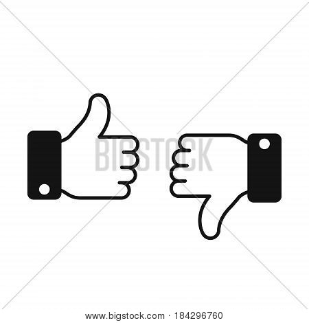 Thumb up thumb down icon. Vector evaluation simple symbol.