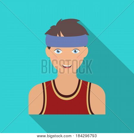 Young basketball player.Basketball single icon in flat style vector symbol stock illustration .