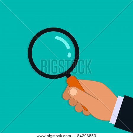 Hand with magnifying glass vector. Searching detecting and analyzing isolated illustration.