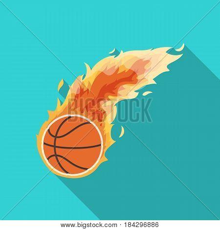 Fireball.Basketball single icon in flat style vector symbol stock illustration .