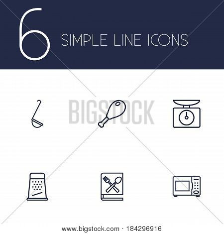 Set Of 6 Culinary Outline Icons Set.Collection Of Book Of Recipes, Ladle, Microwave And Other Elements.