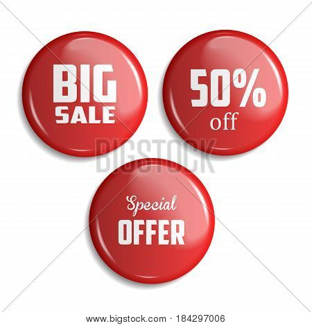 Set of glossy sale buttons or badges. Product promotions. Big sale special offer Vector illustration