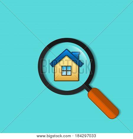Real estate symbol of house under magnifying glass vector flat design illustration. Search home symbol.