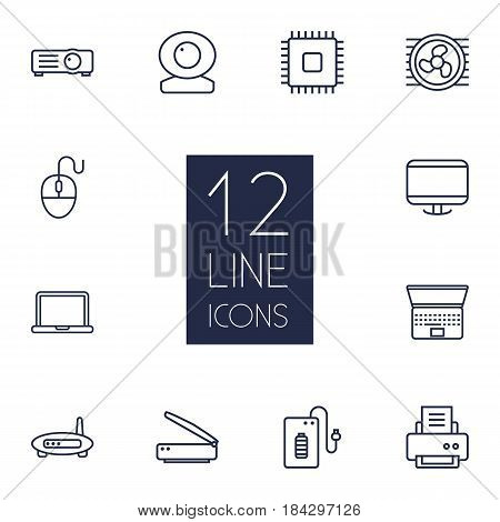 Set Of 12 Notebook Outline Icons Set.Collection Of Cpu, Projector, Computer Mouse And Other Elements.