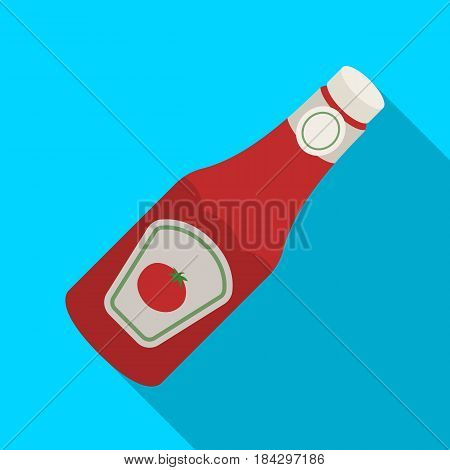A bottle of ketchup.BBQ single icon in flat style vector symbol stock illustration .