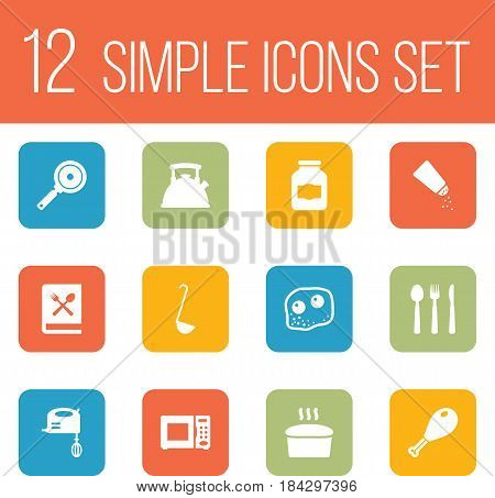 Set Of 12 Kitchen Icons Set.Collection Of Jar, Cooking Instruction, Scoop And Other Elements.
