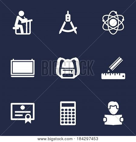 Set Of 9 Education Icons Set.Collection Of Pencil, Rucksack, Reading And Other Elements.