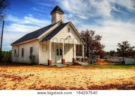 A historical old church building is still being used today. HDR