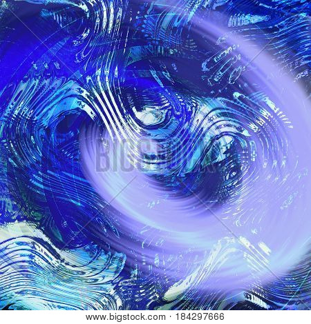 Abstract water background with turbulent waves and water vortex. Blue, white and dark blue rippling rotating background. 3d illustration