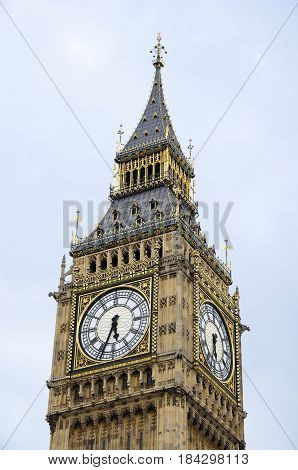 The Big Ben in Westminster London during a cloudy day