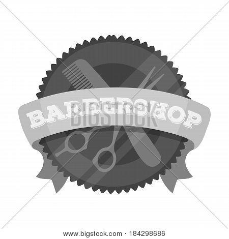 Barber's sign.Barbershop single icon in monochrome style vector symbol stock illustration .