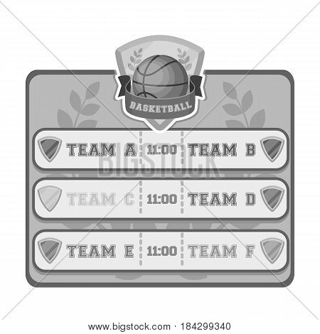 Placard on the basketball court.Basketball single icon in monochrome style vector symbol stock illustration .