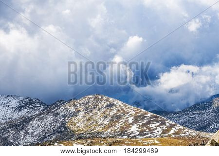 Storm Is Coming To Snow Covered Mountains Of Australian Alps