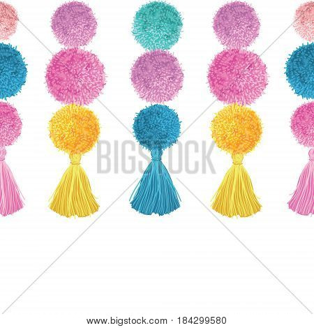 Vector Happy Colorful Birthday Party Pom Poms and Tassels Set Horizontal Seamless Repeat Border Pattern. Great for handmade cards, invitations, wallpaper, packaging, nursery designs. Surface pattern design.