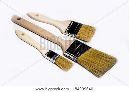 brush, painting brushes, paint brushes isolated on white background, three paint brushes, different sizes of paint brushes