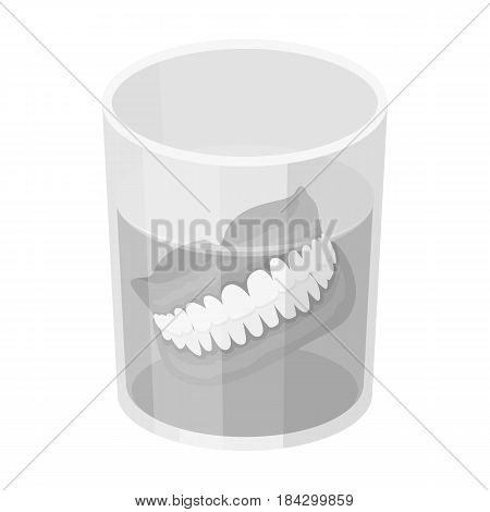 Dentures.Old age single icon in monochrome style vector symbol stock illustration .