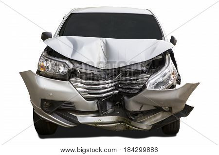 Front of silver car get damaged by accident on the road. Isolated on white background.