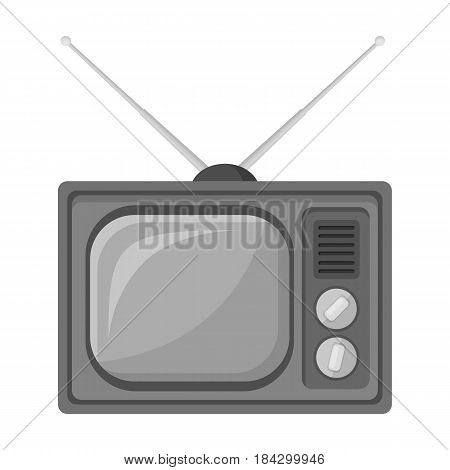 Old TV.Old age single icon in monochrome style vector symbol stock illustration .