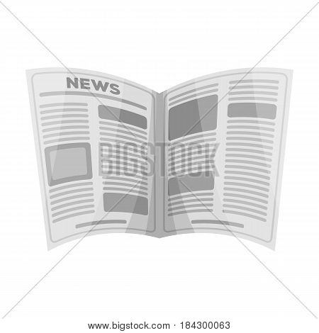 Newspaper.Old age single icon in monochrome style vector symbol stock illustration .