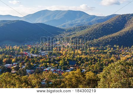 Aerial View Of Bright - Small Town In Australian Countryside. Fall Colors In Full Swing