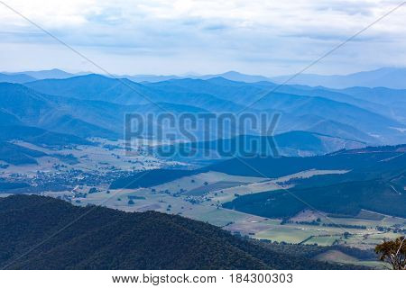 Mountains And Countryside - Beautiful Landscape In Muted Colors. Victoria, Australia