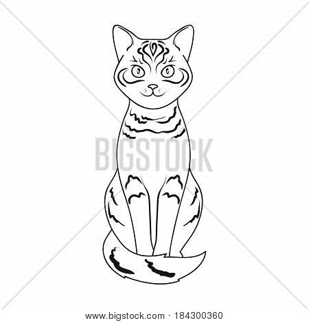 Gray cat.Animals single icon in outline style vector symbol stock illustration .