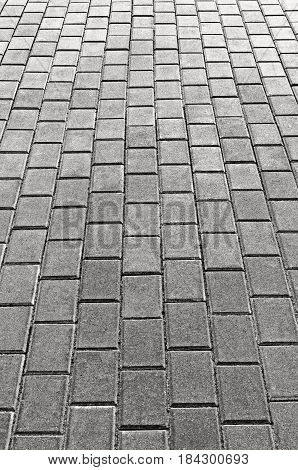 Grey Cobblestone Pavement Texture Background Large Detailed Vertical Gray Stone Block Paving Perspective Rough Textured Cobble Pattern Closeup