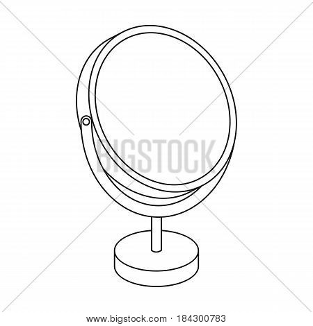 Desk mirror.Barbershop single icon in outline style vector symbol stock illustration .