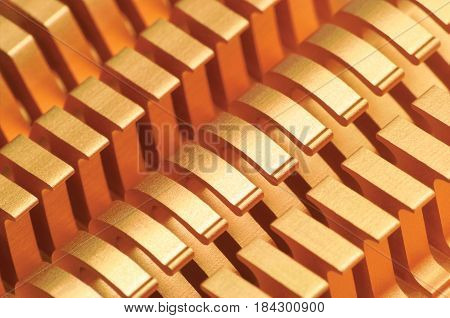 Copper CPU or GPU Cooler Heat Sink Macro Closeup Large Detailed Horizontal Background Textured Pattern Abstract Yellow Gold Golden Gentle Bokeh Heatsink Texture Detail