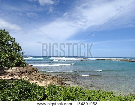 Kuilima Cove Beach at Turtle Bay Oahu Island North Shore Hawaii.