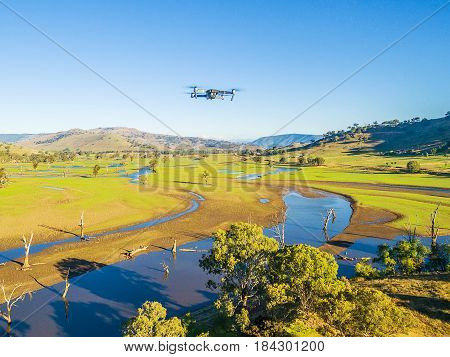 Aerial View Of Drone Flying High Above Australian Countryside On Bright Sunny Day