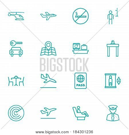 Set Of 16 Airplane Outline Icons Set.Collection Of Cafe, Certification, Luggage Check And Other Elements.