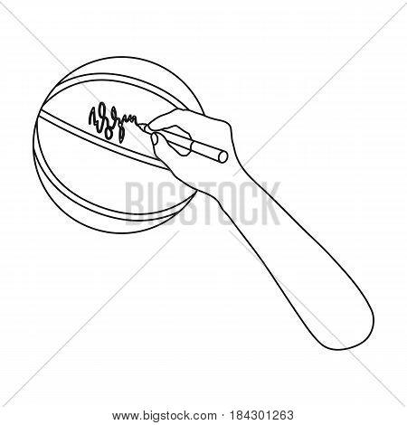 Autograph on a basket ball.Basketball single icon in outline style vector symbol stock illustration .
