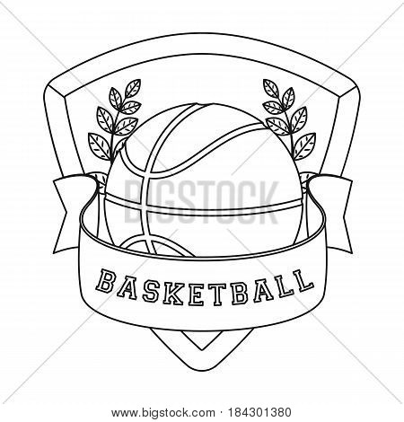Basketball emblem.Basketball single icon in outline style vector symbol stock illustration .