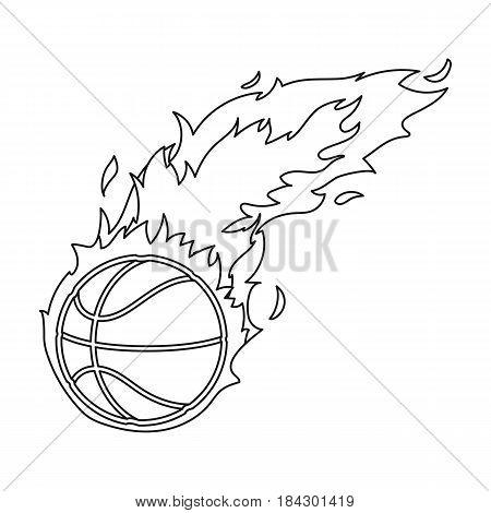 Fireball.Basketball single icon in outline style vector symbol stock illustration .