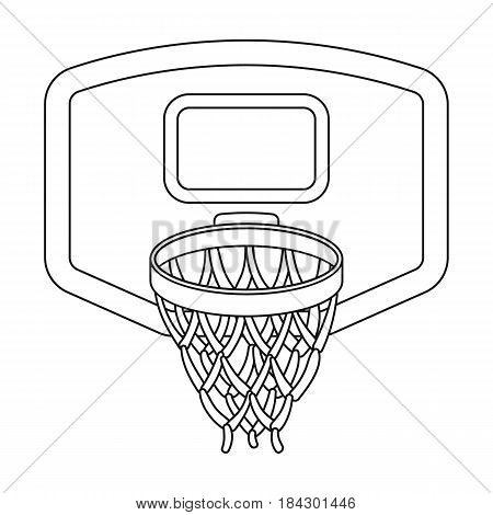 Shield with basket.Basketball single icon in outline style vector symbol stock illustration .