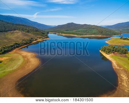 Lake Buffalo Aerial View. Alpine Shire, Victoria, Australia