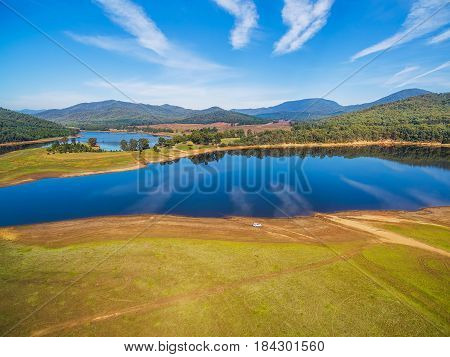 Lake Buffalo On Bright Sunny Day Landscape, Alpine Shire, Victoria, Australia