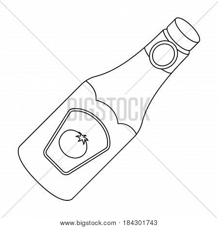 A bottle of ketchup.BBQ single icon in outline style vector symbol stock illustration .