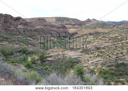 Beautiful California High Desert (Antelope Valley area) landscape. Caves, sedimentary layers and more can be seen