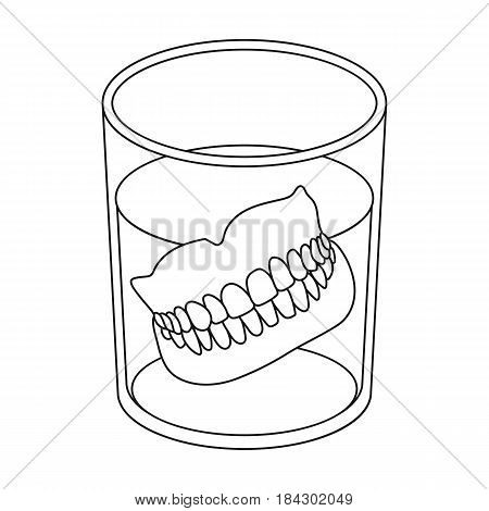 Dentures.Old age single icon in outline style vector symbol stock illustration .