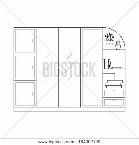Wardrobe for clothes in thin line. Flat vector icon of closet in simple outline style. Interior element of house bedroom furniture. Black thin linear illustration isolated on white background.