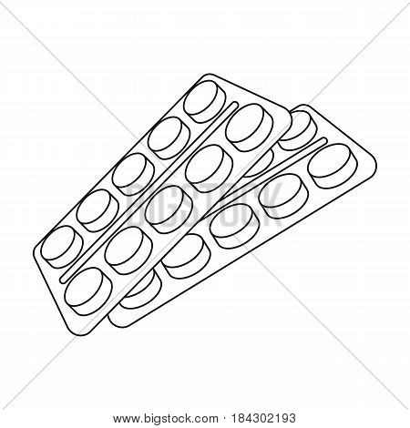 Tablets in the package.Old age single icon in outline style vector symbol stock illustration .